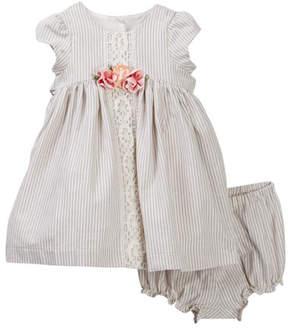 Laura Ashley Stripe Dress Set (Baby Girls 3-9M)