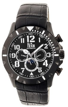 Reign Nehru Leather-band Automatic Watch.