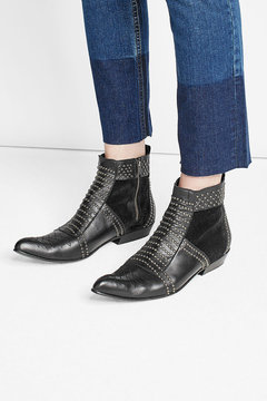 Anine Bing Charlie Embellished Leather Ankle Boots