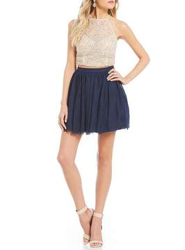 B. Darlin Crystal Beaded Top with Mesh Skirt Two Piece Dress