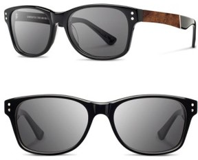 Shwood Men's 'Cannon' 54Mm Polarized Acetate & Wood Sunglasses - Black/ Elm Bur/ Grey