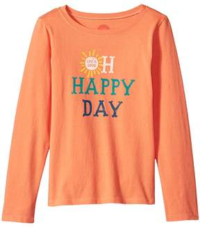Life is Good Oh Happy Day Long Sleeve Crusher Tee Girl's T Shirt