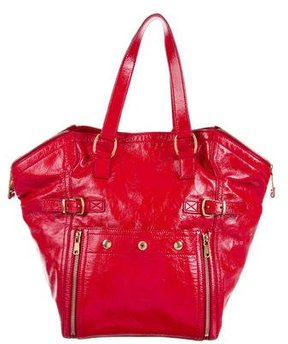 Saint Laurent Patent Leather Downtown Tote - RED - STYLE