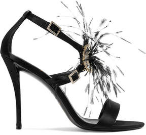 Roger Vivier Sin Feather And Crystal-embellished Satin Sandals - Black