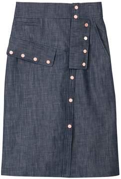 Tibi Raw Denim Snap Skirt
