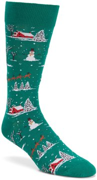 Hot Sox Christmas Scene Crew Socks