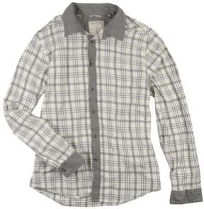 GUESS Mens Casual Plaid Button Up Shirt Beige 2XL