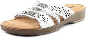 Minnetonka Gayle Women Open Toe Leather White Slides Sandal.