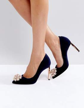 Ted Baker Peetch Embellished Navy Velvet Pumps