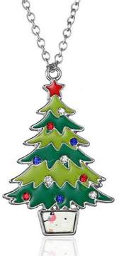 Alpha A Christmas Silver Tone Holiday Tree Adjustable Necklace