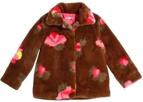 Billieblush Printed Faux Fur Coat
