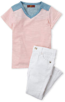 7 For All Mankind Toddler Girls) Two-Piece Burnout Tee & Jeans Set