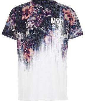 River Island Boys white floral fade print T-shirt