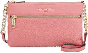 Karl Lagerfeld Paris Bouquet Rose-Stamped Leather Crossbody Bag