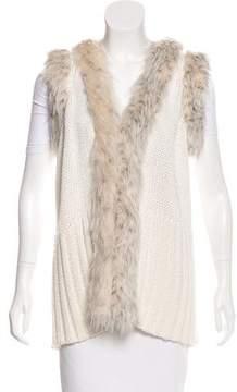 Rachel Zoe Faux Fur-Trimmed Wool-Blend Vest