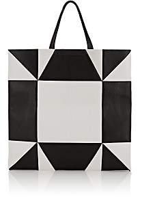 Calvin Klein Women's Oversized Geometric Leather Tote Bag - Wht.&blk.