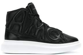 Alexander McQueen Men's Black Leather Hi Top Sneakers.