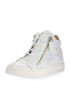 Giuseppe Zanotti Mattglitt High-Top Glitter Sneaker, Toddler