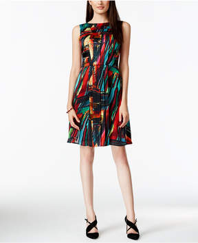 Ellen Tracy Pleated Multicolor Fit & Flare Dress