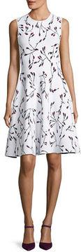 Carolina Herrera Sleeveless Crewneck Floral-Print Short Knit Dress