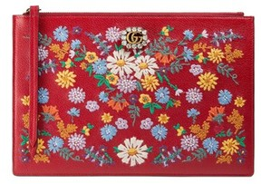 Gucci Ricamo Fiori Embroidered Top Zip Pouch - Red - RED - STYLE