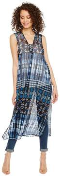 BCBGeneration Indigo Patchwork Poncho Duster Women's Clothing