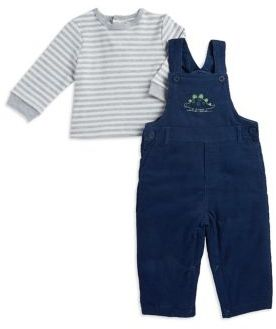 Little Me Baby Boy's Cotton Dino Top & Overalls Set