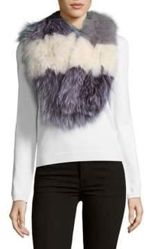 La Fiorentina Striped Fox Fur Scarf