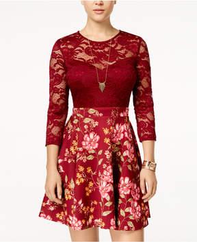 B. Darlin Juniors' Lace & Floral-Print Scuba Fit & Flare Dress