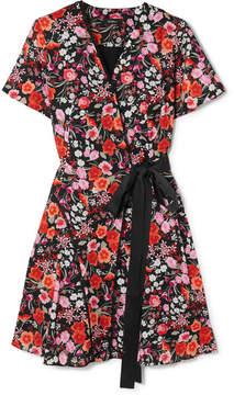 DAY Birger et Mikkelsen Goen J - Lace-trimmed Floral-print Crepe De Chine Wrap Mini Dress - Pink