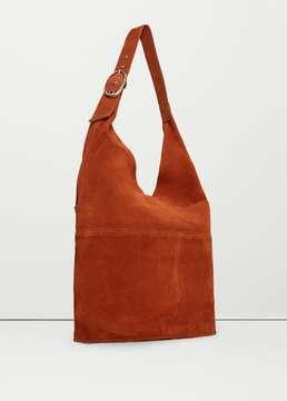 Mango Outlet Leather hobo bag