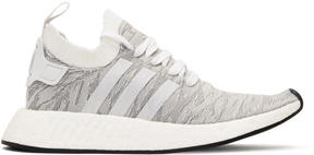 adidas White and Grey NMD R2-PK Sneakers