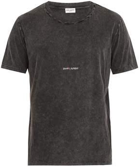 Saint Laurent Logo-print distressed cotton T-shirt
