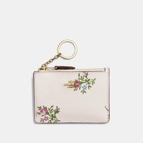 Coach Mini Skinny Id Case With Cross Stitch Floral Print