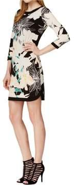 Vince Camuto Women's 3/4 Sleeve Floral-Print Shift Dress (16, Print)