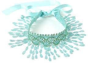 Amrita Singh Mint Green Lace Fringe-Accent Pipa Choker Necklace