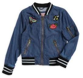 Urban Republic Girl's Patch Chambray Bomber Jacket