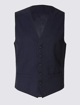 Marks and Spencer Navy Striped Regular Fit Wool Waistcoat