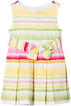 Mayoral Yellow Multi Stripe Bow Dress