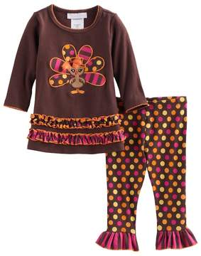 Bonnie Jean Toddler Girl Thanksgiving Turkey Tunic & Leggings Set