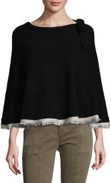 Portolano Women's Solid Cashmere With Fringe Edges Capelet