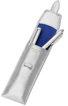 Aspinal of London Small Pen Case In Silver Saffiano