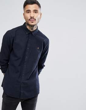 Farah Steen Slim Fit Brushed Oxford Weave Shirt In Navy