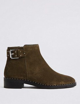 Marks and Spencer Suede Block Heel Strap Stud Ankle Boots