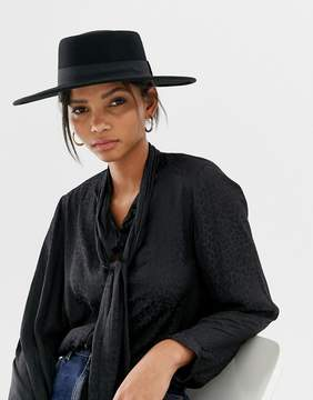 Asos DESIGN felt matador boater hat with size adjuster