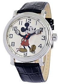 Disney Men's Vintage Mickey Watch w/ Black Leather Strap