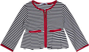 Mayoral Navy Stripe with Red Trim Zip Jacket