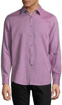 Report Collection Men's Textured Cotton Casual Button-Down Shirt