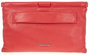 Miu Miu Nappa Leather Clutch - Red