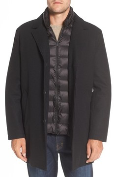 Cole Haan Men's Water Repellent Jacket With Inset Bib & Faux Fur Lining
